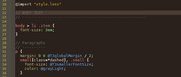 syntax highlight less
