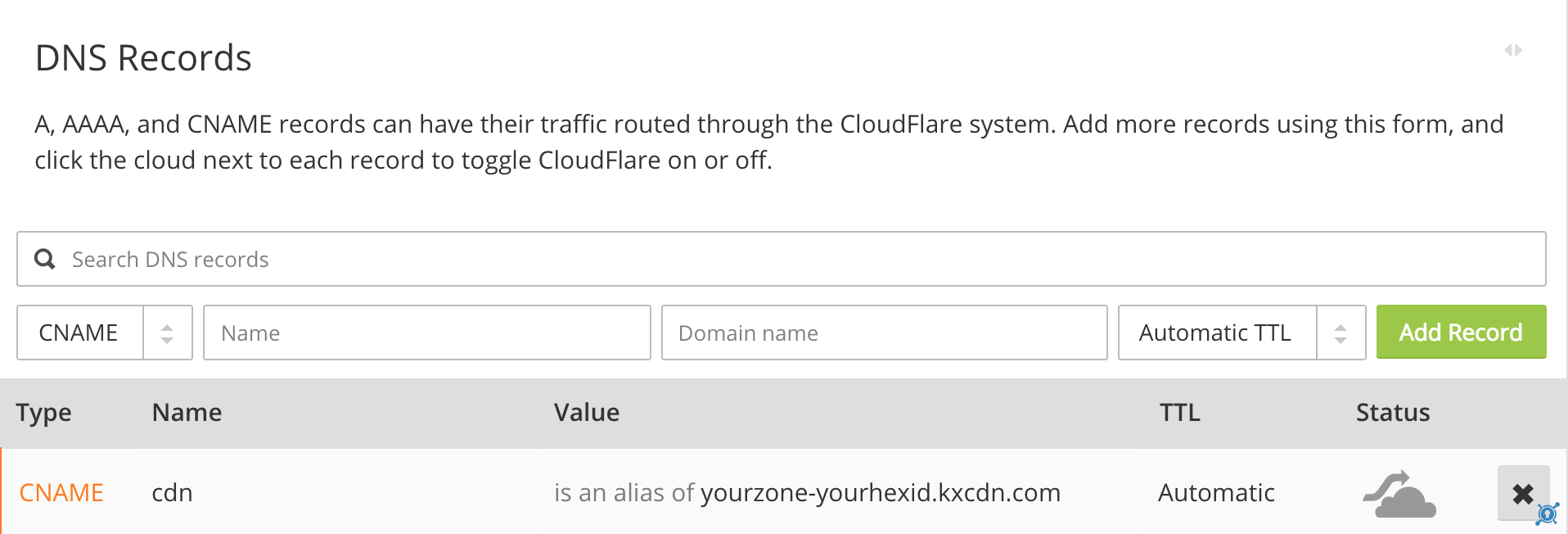 cname in cloudflare